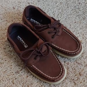 Boy's Sperry Top Siders in brown leather, size 2